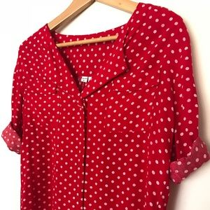 American Apparel Red and White Polka Dot Top
